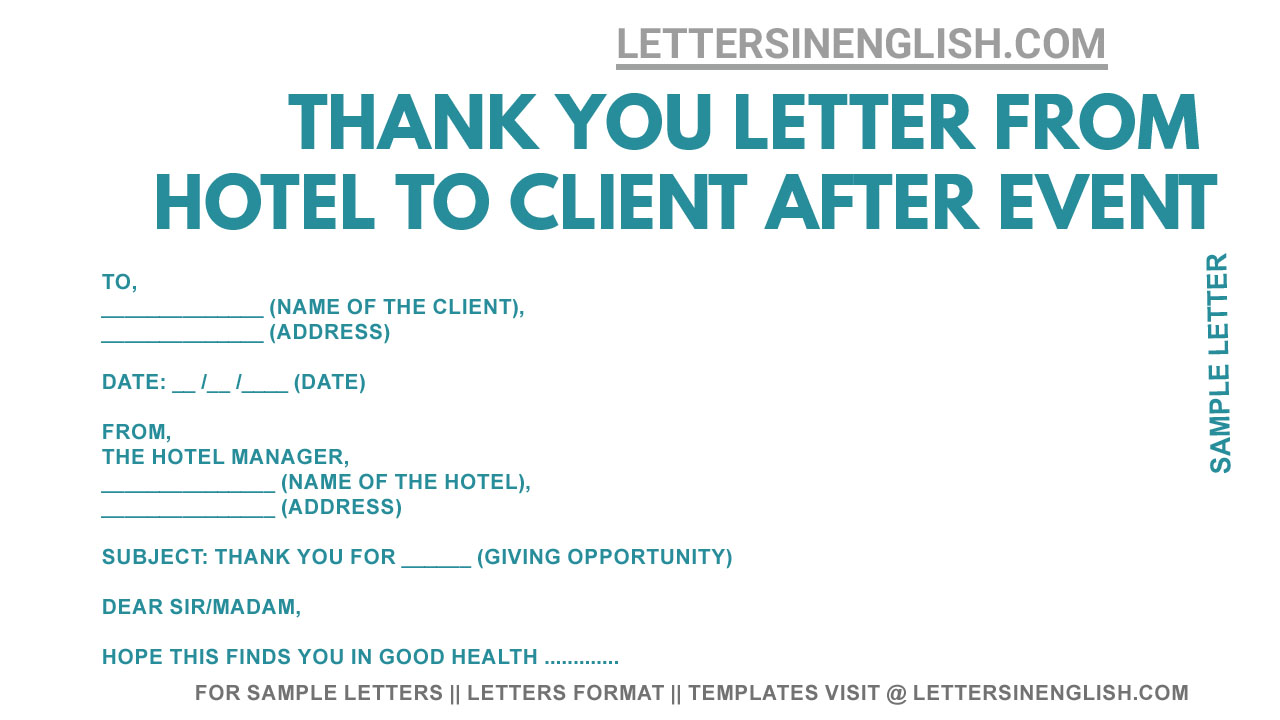 Thank You Letter From Hotel To Client